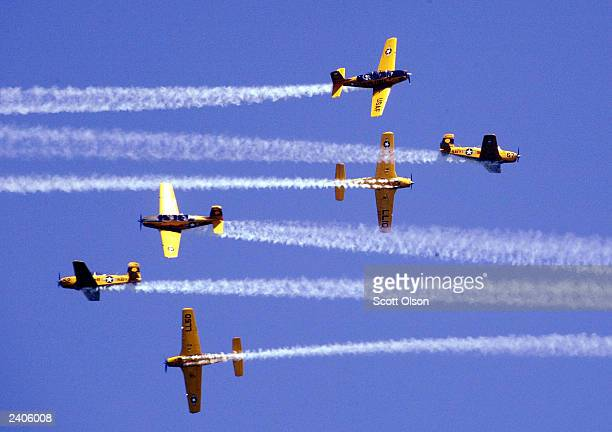 The Lima Lima flight team flies over the crowd gathered at the 45th annual Chicago Air and Water Show August 17 2003 in Chicago Illinois The show is...
