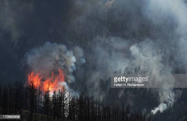 The Lime Gulch Fire burns in US Forest Service land while In the foreground is the remnants of the Lower North Fork fire along Kuehster Road in...