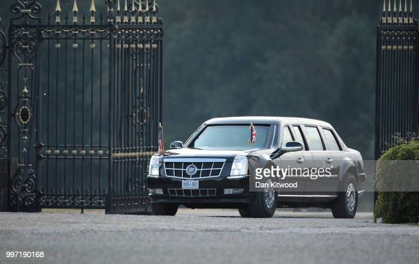 The limousine of US President Donald Trump and First Lady Melania Trump arrives at Blenheim Palace on July 12 2018 in Woodstock England Blenheim...