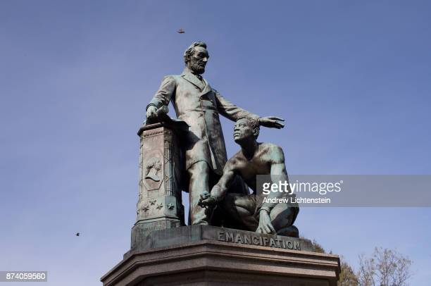 The Lincoln Emancipation Statue sits in Lincoln Park on November 11 2017 in Washington DC's Capital Hill neighborhood Paid for by former slaves and...