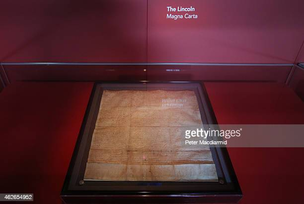 The Lincoln Magna Carta is displayed at the British Library on February 2 2015 in London England Magna Carta one of the world's most influential...