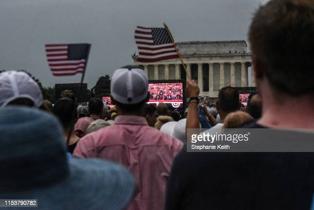 The Lincoln Memorial is seen on the National Mall while President Donald Trump gives his speech during Fourth of July festivities on July 4 2019 in...