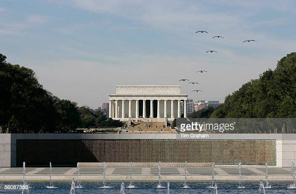 The Lincoln Memorial is seen past the Wall of Stars at the Second World War Memorial whilst Charles Prince of Wales and Camilla Duchess of Cornwall...
