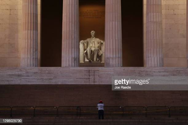 The Lincoln Memorial is seen the day after a pro-Trump mob broke into the U.S. Capitol Building on January 07, 2021 in Washington, DC. Congress...