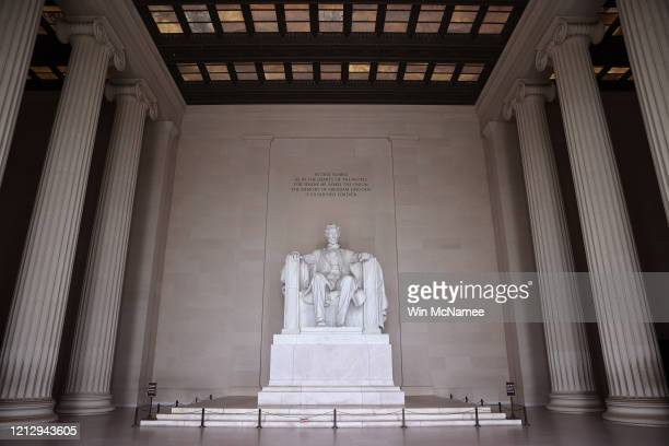 The Lincoln Memorial, normally filled with tourists, is completely empty due to the impacts of coronavirus on March 17, 2020 in Washington, DC. U.S....