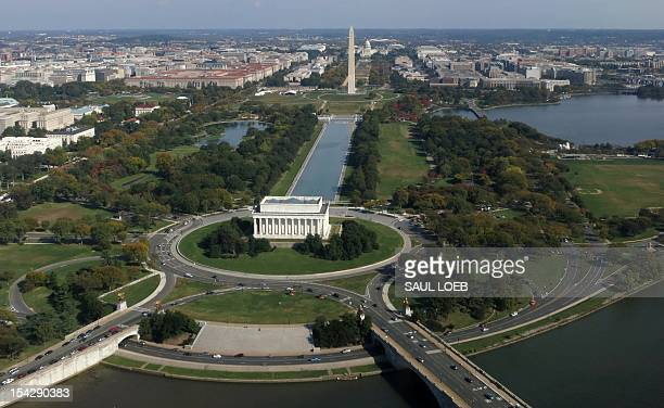 The Lincoln Memorial Washington Monument and US Capitol are seen from air on the National Mall October 17 2012 above Washington DC AFP PHOTO / Saul...