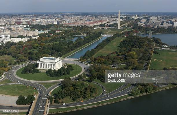 The Lincoln Memorial Washington Monument and US Capitol are seen on the National Mall from air October 17 2012 above Washington DC AFP PHOTO / Saul...