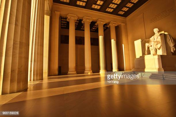 the lincoln memorial with president lincoln statue at sunrise, washington dc - lincoln memorial stock pictures, royalty-free photos & images