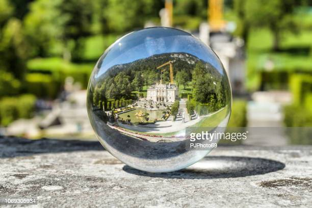 The Linderhof Castle through a lensball
