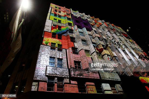 The Lindt Cafe building is illuminated to mark the one year anniversary of the Lindt Cafe siege on December 15 2015 in Sydney Australia Today marks...