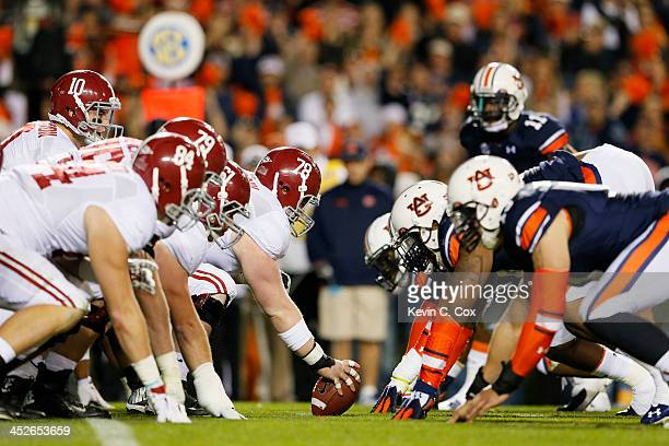 The line of scrimmage as the Alabama Crimson Tide line up against the Auburn Tigers in the third quarter at JordanHare Stadium on November 30 2013 in...