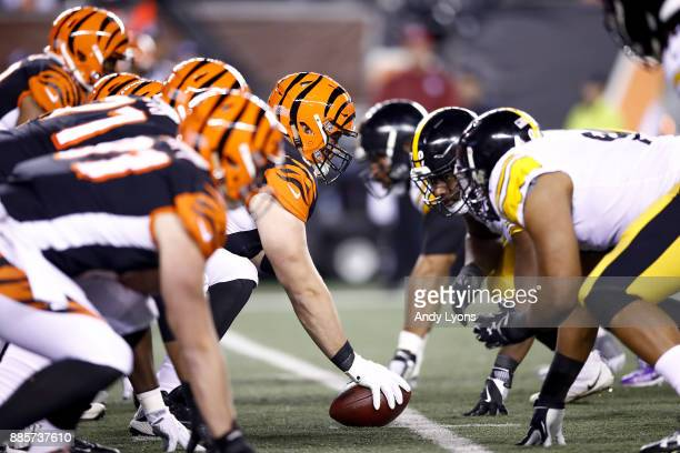 The line of scrimmage between the Cincinnati Bengals and the Pittsburgh Steelers during the first half at Paul Brown Stadium on December 4, 2017 in...