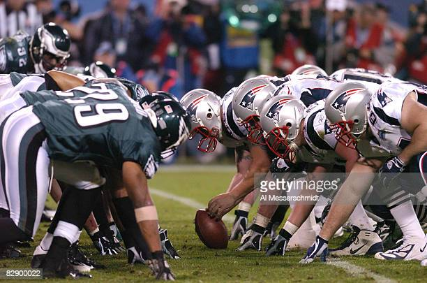 The line of scrimmage during Super Bowl XXXIX between the Philadelphia Eagles and the New England Patriots at Alltel Stadium in Jacksonville Florida...
