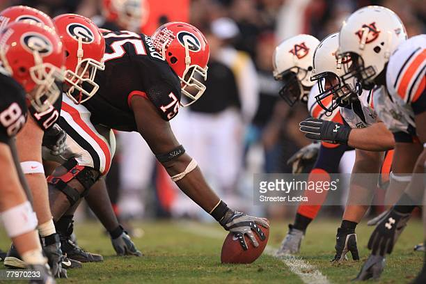 The line of scrimmage during the NFL game of the Georgia Bulldogs against the Auburn Tigers at Sanford Stadium on November 10, 2007 in Athens,...