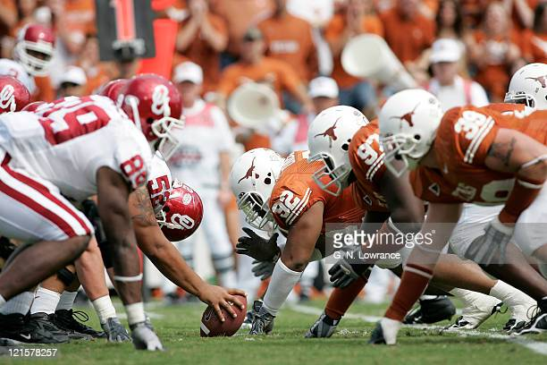 The line of scrimmage during the Texas Longhorns against the Oklahoma Sooners in the 100th annual Red River Rivalry at the Cotton Bowl in Dallas,...