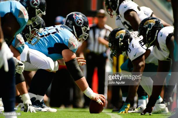 The line of scrimmage is seen at the start of the game between the Tennessee Titans and the Jacksonville Jaguars on September 23 2018 in Jacksonville...