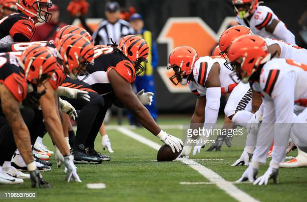 The line of scrimmage of the Cincinnati Bengals against the Cleveland Browns at Paul Brown Stadium on December 29 2019 in Cincinnati Ohio