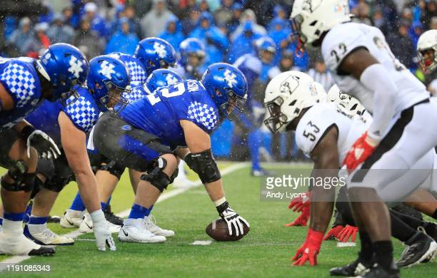 The line of scrimmage of the Kentucky Wildcats against the Louisville Cardinals at Commonwealth Stadium on November 30 2019 in Lexington Kentucky