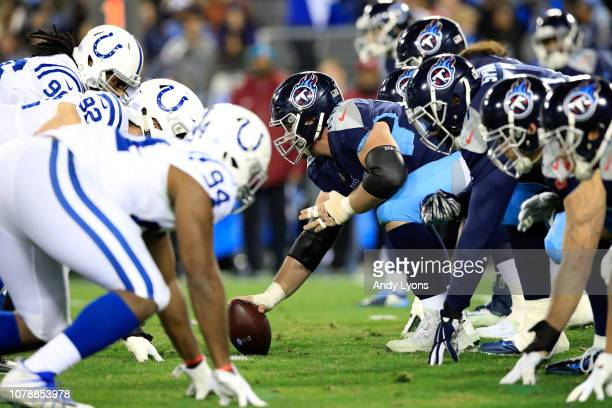 The line of scrimmages of the Indianapolis Colts game against the Tennessee Titans at Nissan Stadium on December 30 2018 in Nashville Tennessee