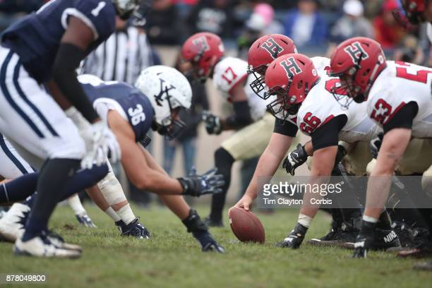 The line of scrummage during the Yale V Harvard Ivy League Football match at the Yale Bowl Yale won the game 243 to win their first outright league...