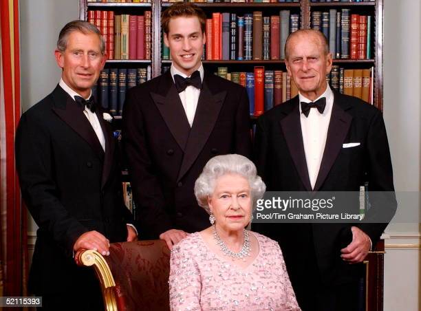 The Line Of Succession Of The British Monarchy - Queen Elizabeth II With Her Consort, Prince Philip Posing With Their Son Prince Charles, The Prince...