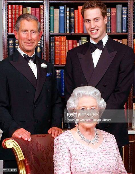 The Line Of Succession Of The British Monarchy Queen Elizabeth II Posing With Her Son And Heir Prince Charles The Prince Of Wales And His Son And...