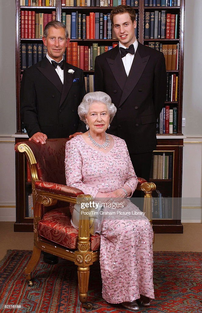 The Line Of Succession Of The British Monarchy - Queen Elizabeth II With Her Son And Heir Prince Charles, The Prince Of Wales, And His Son And Heir Prince William. Three Generations Of The British Royal Family Gathered At Clarence House