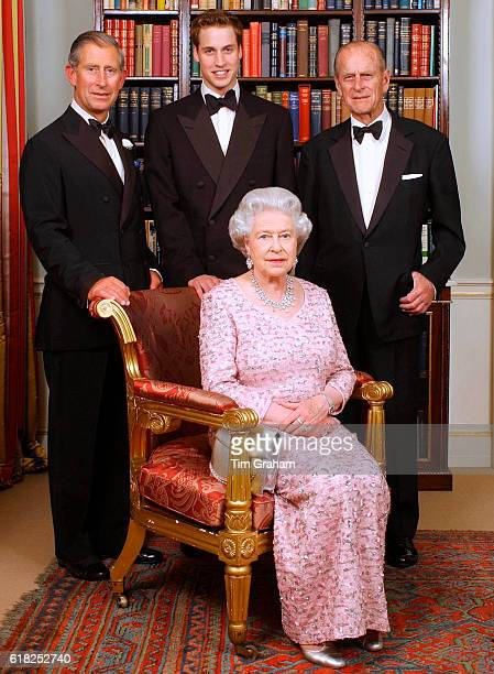 The line of succession of the British Monarchy Queen Elizabeth II with her consort Prince Philip pose with their son Prince Charles the Prince of...