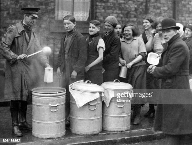 The line up for free soup distributed by the Salvation Army Soup Kitchen which was warmly welcomed when it visited Gateshead 30th January 1934