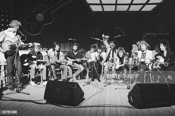 The line up of musicians at Limehouse Studios in London recording the television programme 'Blue Suede Shoes' spotlighting veteran rockabilly...