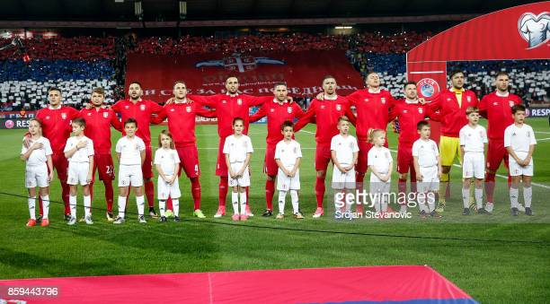The line up of Serbia national football team sing national anthem prior to the FIFA 2018 World Cup Qualifier between Serbia and Georgia at stadium...