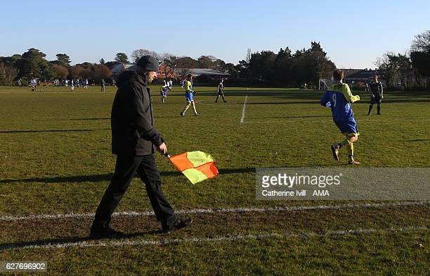 The linesman / assistant referee during a local game of Sunday football before the Premier League match between AFC Bournemouth and Liverpool at...