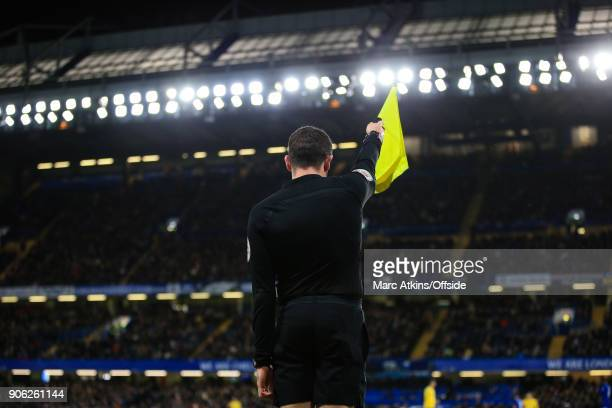 The linesman flags for offside during the Emirates FA Cup Third Round Replay match between Chelsea and Norwich City at Stamford Bridge on January 17...