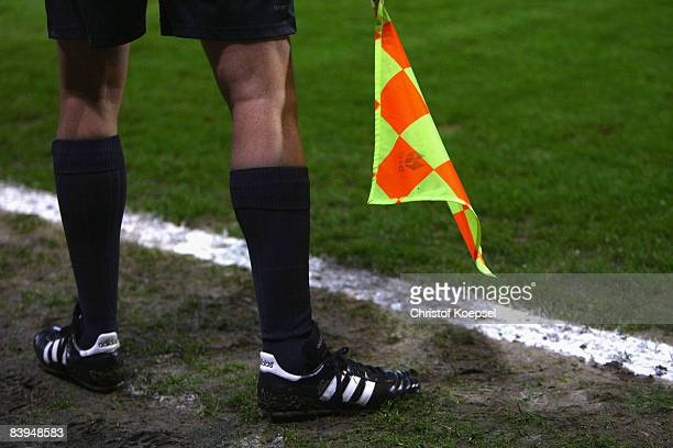 The linesman is seen at the sideline during the Second Bundesliga match between Alemannia Aachen and 1860 Muenchen at the Tivoli on December 5 2008...