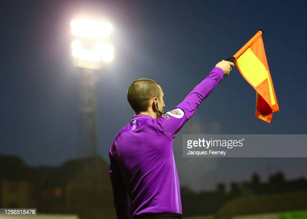 The linesman raising his flag for an offside during the Sky Bet League Two match between Southend United and Barrow at Roots Hall on January 09, 2021...