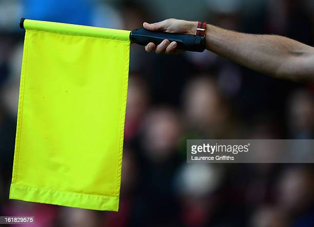 The linesman sflags for offside during the npower Championship match between Nottingham Forest and Bolton Wanderers at City Ground on February 16...