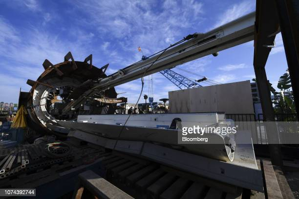 The Line-storm second generation tunnel boring equipment sits prior to an unveiling event for the Boring Co. Hawthorne test tunnel in Hawthorne,...