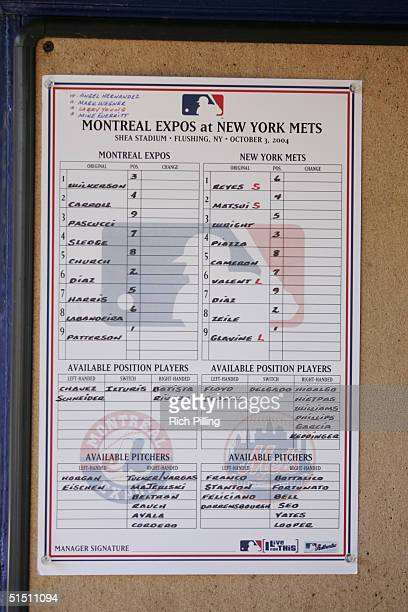 The lineup card for the game between the New York Mets and Montreal Expos at Shea Stadium on October 3 2004 in Flushing New York This was the final...