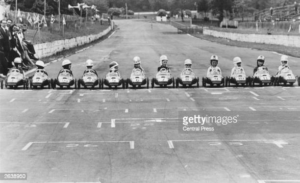The lineup of young drivers on the grid at Crystal Palace South London before the start of the pedalcar junior Grand Prix