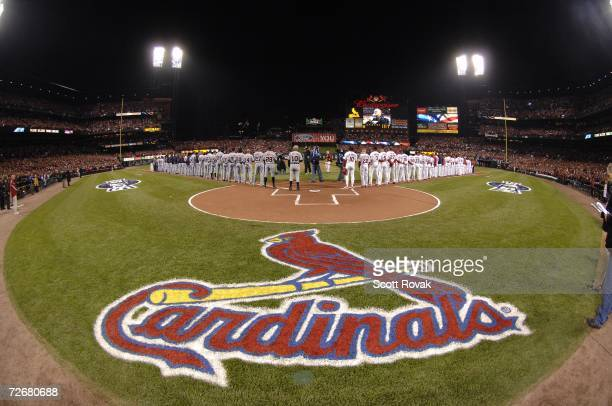 The lineups before Game 3 of the World Series between the St Louis Cardinals and the Detroit Tigers at Busch Stadium in St Louis Missouri on October...