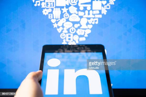 The LinkedIn Corp app logo is displayed on an Apple Inc iPad Mini the biggest online professionalnetworking service on October 20 2017 in Hong Kong...