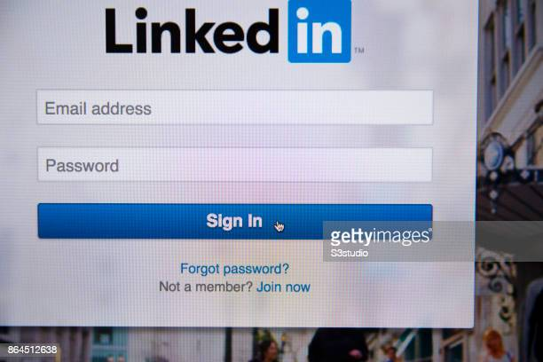 The LinkedIn Corp app sign in logo is displayed on a website the biggest online professionalnetworking service on October 20 2017 in Hong Kong Hong...