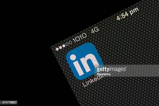 The LinkedIn Corp application icon is displayed on an Apple Inc iPhone 5s in an arranged photograph in Hong Kong China on Tuesday Feb 25 2014...