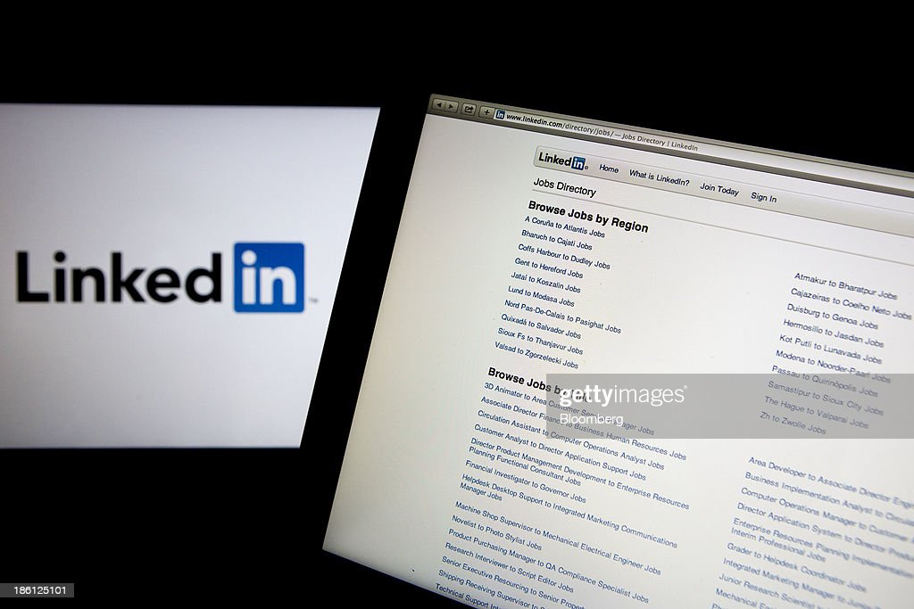 The LinkedIn Corp. jobs directory and logo are displayed on a laptop computer arranged for a photograph in Washington, D.C., U.S., on Monday, Oct. 28, 2013. LinkedIn Corp. is expected to release earnings figures on Oct. 29. Photographer: Andrew Harrer/Bloomberg via Getty Images