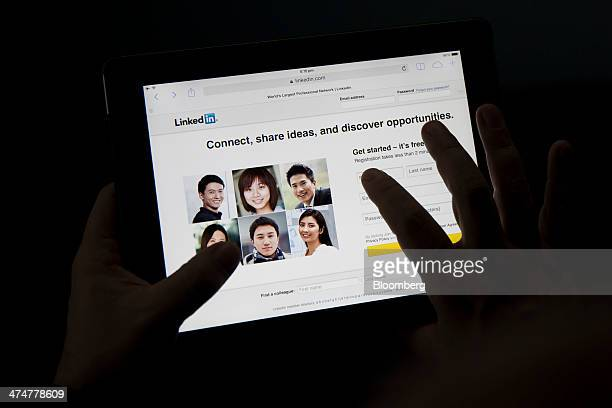 The LinkedIn Corp website is displayed on an Apple Inc iPad Air in an arranged photograph in Hong Kong China on Tuesday Feb 25 2014 LinkedIn is...