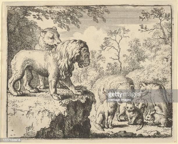 The Lion and the Lioness Pardon Renard and Order the Other Animals to Forget His Crimes From Hendrick van Alcmar's Renard The Fox 165075 Third state...