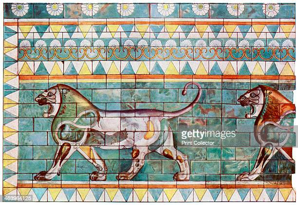 The lion frieze from King Darius' winter palace at Susa, Iran, 1933-1934. Enamelled tile. From Wonders of the Past, volume II, 1933-1934.