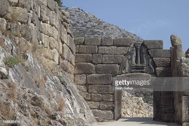 The Lion Gate stands at the ancient archeological site of Mycenae on July 31 2012 near Mycenae Greece Greece's many archeological sites are among its...