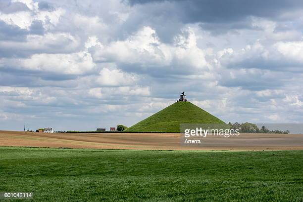 The Lion Hill, monument remembering the 1815 Napoleonic war, the Battle of Waterloo at Braine l'Alleud / Eigenbrakel, Belgium.