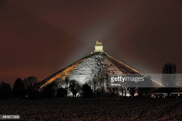 The Lion Hill, which is the main memorial monument of the Battle of Waterloo at night in winter, Eigenbrakel, Belgium.